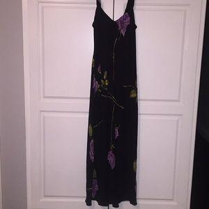 Betsy Johnson purple roses maxi dress